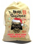 Retro PAUSE GAME Gamer Gaming Geek design X-Large Cotton Christmas Santa Sack Stocking Gift Bag